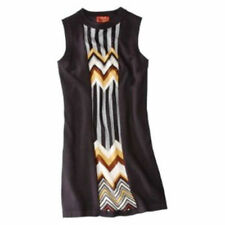 NEW! Authentic Missoni Knit Sweater Dress Black w/ Brown/Gold Front Panel