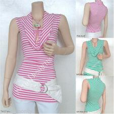Womens Sleeveless Casual Stripe Fitted Cowl Neck Tunic Top TP2302 Free P&P
