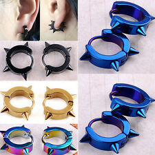 Hipster Titanium Steel Punk Rivet Ear Studs Spike Hoop Huggie Piercing Earrings