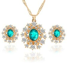 Pretty Shining Snowflake Crystal Rhinestone Earrings Necklace Womens Jewelry Set