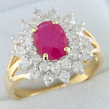 18ct Gold 1.55ct Ruby & 1ct Diamond Cluster Ring GEM CARD RRP £2999.99 {LG34}