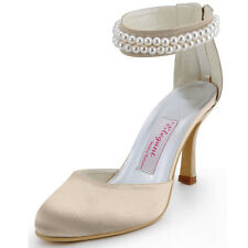 AJ3065 High Heel Party Pumps Closed Toe Pearls Ankle Strap Satin Wedding Shoes