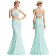 Mermaid Sexy Long Beaded Bridesmaid Formal Lace Prom Pageant Halter Ball Dresses