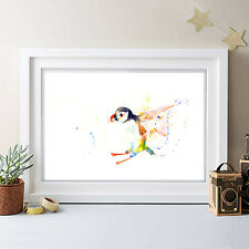 FLYING PUFFIN ORIGINAL WATERCOLOUR PRINT NEW SIGNED POP ART ABSTRACT FOREST