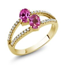 1.41 Ct Pink Created Sapphire Mystic Topaz 18K Yellow Gold Plated Silver Ring