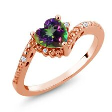 0.98 Ct Mystic Topaz White Created Sapphire 18K Rose Gold Plated Silver Ring