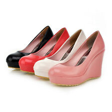 Sweet Candy Womens Ladies High Wedge Heel Platform Pumps Court Shoes Slip on