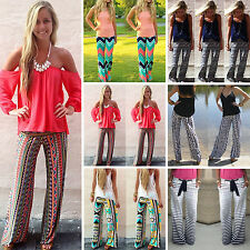 BOHO Womens Harem Loose Elastic Waist Pants Casual Long Palazzo Tribal Trousers
