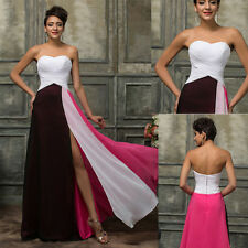 Long Chiffon Bridesmaid Formal Evening Gown Cocktail Party Prom High Split Dress