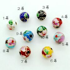 Wholesale 10pcs Chinese Handmade Cloisonne Enamel Polish Round Beads DIY Gift