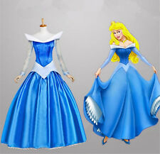 Movie Sleeping Beauty Princess Aurora Deluxe Blue Dress Cosplay Adult Costume