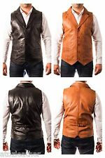 Mens New Smart Shirt Collar Five Button Leather Fitted Blazer Waistcoat Gilet