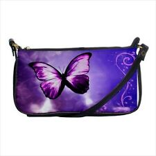 Purple Butterfly Shoulder Clutch Handbag & Mini Coin Purse