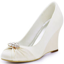 EP2005AL Satin Bridal High Heel Wedges Rhinestone Clips Ruched Wedding Shoes