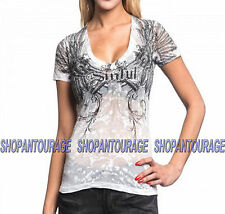 Sinful Angel Fatal S3775 Women`s New White Burnout T-shirt By Affliction