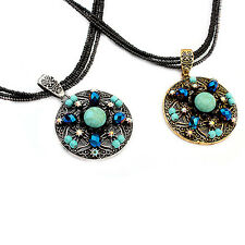 Women's Newest Bohemian Style Round Pendant Multilayer Seedbead Choker Necklace