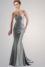 Long Silver Mermaid Formal Evening Party Prom Dress Wedding Bridesmaid Dress