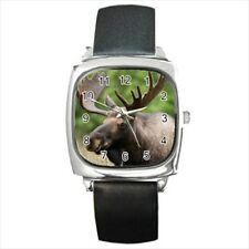 Canadian Moose Round & Square Leather Strap Watch