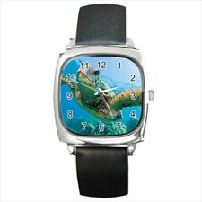 Green Sea Turtle Round & Square Leather Strap Watch