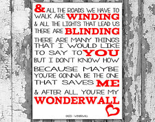 Oasis Wonderwall Lyrics Canvas Song Lyric Art Prints Typography Wall Art
