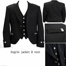 "Argyle Black Kilt Jacket in 100%Wool With Waistcoat/Vest Handmade-Sizes 36""- 54"""