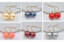 X0354 12mm round south sea shell pearl dangle earring