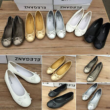 New Ladies Womens Bow Flat Dolly Slip On Shoes Ballet Ballerina Work Pumps Flats