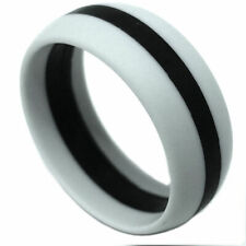 SAR -SAFE ACTIVE RINGS 8mm Gray With Black Stripe Silicon Wedding Band Ring