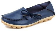 Women Genuine Leather Flats Shoes Loafers Round Toe Slip on Moccasin Low Heel