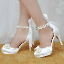 EP11074 Stiletto Heel Platforms Ribbon Bow Satin Pearl Strap Wedding Party Shoes
