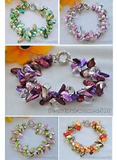 X0345 baroque tail freshwater pearl crystal bracelet