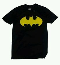 DC COMICS BATMAN MEN'S NEON YELLOW lOGO   BLACK POLYESTER T-SHIRT: S-XL