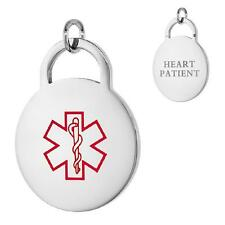 HEART PATIENT Stainless Steel Medical Alert Round Pendant /Charm,Bead Ball Chain