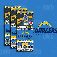 San Diego Chargers Football Ticket Style Sports Party Invitations