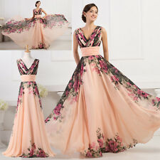 PLUS SIZE Long Floral V Neck Cocktail Ball Gown Bridesmaid Dresses Evening Prom