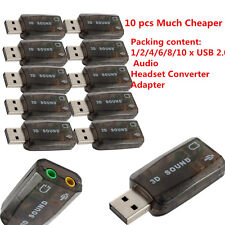Lot USB 2.0 Audio Headset Microphone Jack Converter Sound Card Adapter SL
