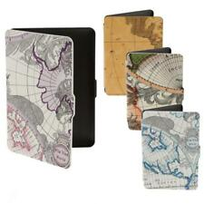 World Map Faux Leather Case Folio Cover Shell for Amazon Kindle Paperwhite 1/2/3