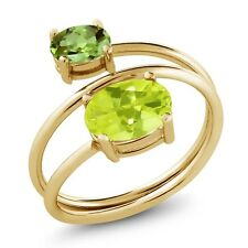 2.10 Ct Yellow Lemon Quartz Green Peridot 18K Yellow Gold Plated Silver Ring