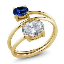2.30 Ct White Topaz Blue Simulated Sapphire 18K Yellow Gold Plated Silver Ring