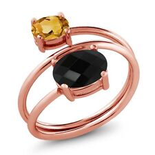 1.92 Ct Oval Checkerboard Black Onyx Citrine 18K Rose Gold Plated Silver Ring