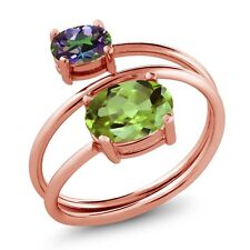 2.33 Ct Oval Green Peridot Green Mystic Topaz 18K Rose Gold Plated Silver Ring