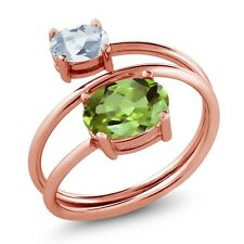 2.33 Ct Oval Green Peridot Sky Blue Topaz 18K Rose Gold Plated Silver Open Ring