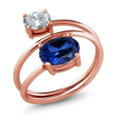 2.60 Ct Blue Simulated Sapphire White Topaz 18K Rose Gold Plated Silver Ring
