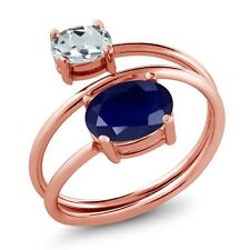 2.65 Ct Oval Blue Sapphire Sky Blue Aquamarine 18K Rose Gold Plated Silver Ring