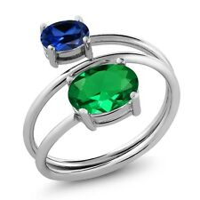 2.00 Ct Green Simulated Emerald  Simulated Sapphire 925 Sterling Silver Ring