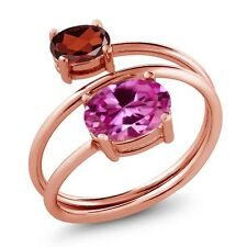 2.65 Ct Oval Pink Created Sapphire Red Garnet 18K Rose Gold Plated Silver Ring