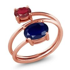 3.09 Ct Oval Blue Sapphire African Red Ruby 18K Rose Gold Plated Silver Ring