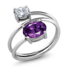 2.00 Ct Oval Purple Amethyst White Topaz 925 Sterling Silver Open Ring