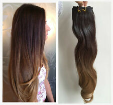 Remy Clip In Human Hair Extensions Ombre Brown to Blond Clip-in Hair Extensions