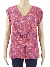 New Ex Crew Clothing Dark Pink Floral Chiffon Cap Sl Lined Tunic Top 8-16